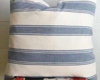 "Designer denim blue & cream striped 22"" woven pillow cover / farm house / modern / beach house"