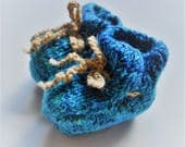 Cobalt Baby Knit Booties- Hand Dyed Yarn