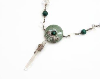 Quartz Point Necklace - Malachite, Jade, Clear Quartz Beads