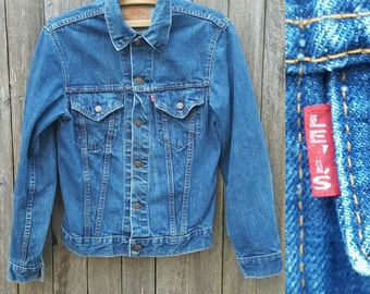 Vintage LEVI'S Denim Jacket  //  Vtg 60s 70s Made in the USA Levi BIG E Distressed Single Stitch Indigo Denim Jacket