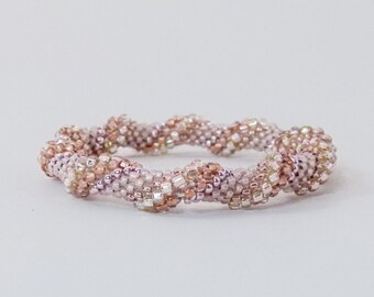 Bead Crochet Rope Bangle, Spiral Design in Rose Gold, Copper, Champagne and Blush - Item 1588