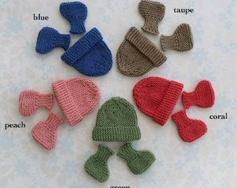 """MICRO PREEMIE - hat and booties set - up to 30 weeks / 3 lb - 5 colour choices (blue, taupe, coral, green or peach) - NICU """"Kangaroo Care"""""""