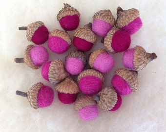 18 wool felted acorns: cranberry, rose, light pink