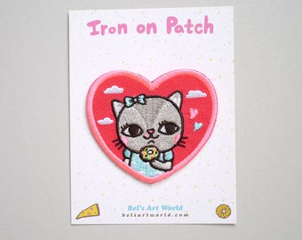 Kitty Donuts love Iron On Patch