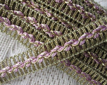 """2 Yards Vintage Metallic Trim Ribbon 9/16"""" Wide Lavender & Gold Very Fancy Old Store Stock T 03"""