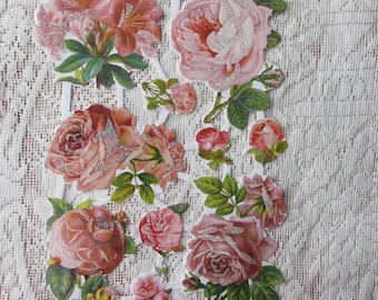 Denmark Paper Lithographed Die Cut Scraps Flowers Glittered Pink Roses   SD 32
