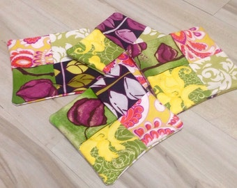 Set of 4 Drink Costers, Fabric Coasters, Housewarming Gift, Home Decor, Pink and Green Coasters, Unique Wedding Gift