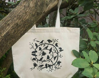Crow Spiral Design by June Hunter, Screen Printed 100% Cotton Tote Bag, Crow Lover Gift
