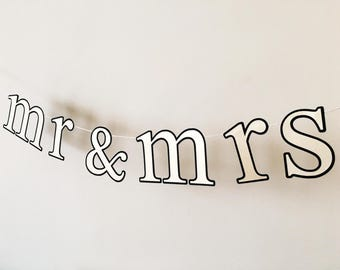Mr & Mrs Banner - Wedding Photo Prop, Backdrop, Cake, Sweetheart Table, Chair Sign - Champagne, Gold, Other on Black with Gold Glitter Twine