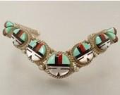 Vintage Zuni Cuff Bracelet Sterling Silver Inlay Sunface Bracelet