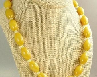 Art Deco Galalith Bead Necklace Egg Yolk Yellow Beads