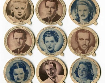 Vintage Movie Stars Dixie Cup Lids, 9 1940's Vintage Lids, Maloof Ice Cream, New London, CT, Betty Grable, Henry Fonda, Ginger Rogers