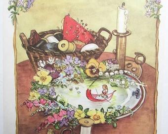 Vintage Print, 1960's Vintage Tasha Tudor Child's Bookplate Illustration, Print, Thumbelina, Fairy Tale Print, Nursery Decor
