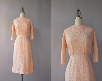 1960s Dress / Vintage 60s Pale Pink Lace Dress / 50s Fitted Lace Dress