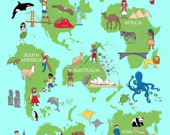 World Map We Share One World Whistler Studios Fabric Super Panel