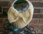 Messy Bun Beanie with Bow, Ponytail Hat, Crochet hat with hole for Bun or Ponytail, Made to Order