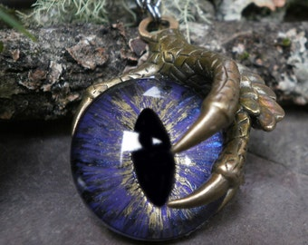Gothic Steampunk Single Claw Pendant with Colorshift Purple Eye