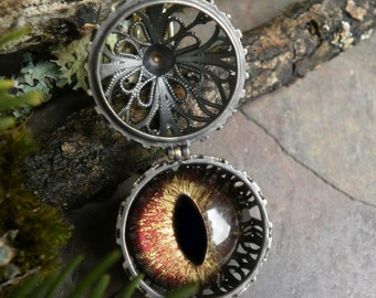 Gothic Steampunk Eye Ball Pendant with Cinnamon Golden Brown Eye