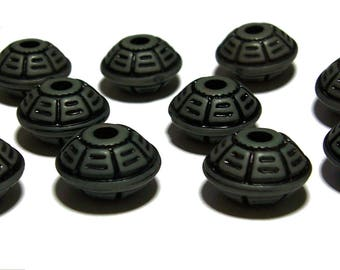 Carved Saucer Beads Charcoal with Black design beads 8x16mm 10pcs