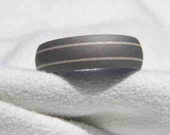 Titanium Ring, Wedding Band, Silver Inlays 7mm size 14.25, Clearance Listing