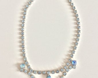 Something Blue-Vintage 50s Blue rhinestone Dainty Necklace
