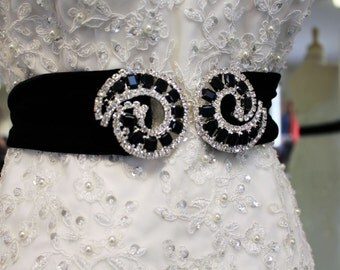 Haute Couture Black Bridel Belt with Stunning Czechoslovakian Rhinestone and Jet Black Circular Buckle-High End Piece-Velvet Stretch Belt