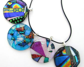 Glass pendant jewellery sale, dichroic glass sparkly pendant necklace, rainbow pendant, patterned glass jewelry, birthday gifts for her