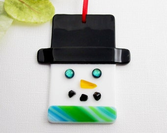 Glass Snowman Ornament - Fused Glass Snowman Christmas Ornament - Glass Christmas Ornament - Snowman Head with a Green Scarf
