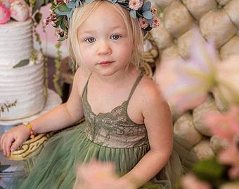 Olive Field Flower Girl Dress French Lace and Silk Tulle Dress for baby girl Olive Green Princess Dress Olive Green Tutu Dress
