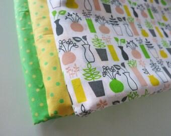 Pots & Plants Bundle - hand printed cotton fabric - FQ Set