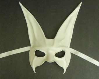 White Rabbit Leather Mask extra long ears