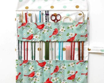 Holder for Knitting Needles, Needle Case, Bird Print Crochet Hook Storage, DPN Double Pointed Needle Organizer, Paintbrush Roll