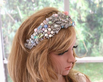 Precious Bridal Crown . Pastel jeweled Headpiece . Wedding Headpiece . Jeweled Bridal Crown . Pink Blue Wedding Headpiece . Bridal Headband