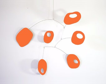 Bright Orange Retro Mobile by Atomic Mobiles - 3 Sizes - Midcentury Mod Cool Inspired Art