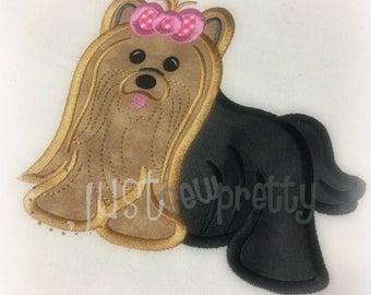 Cute Yorkie Embroidery Applique Design
