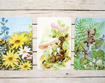 Spring Swap Cards (3) Vintage Single Swap Playing Cards Paper Ephemera -- Bunnies, Flowers, Floral