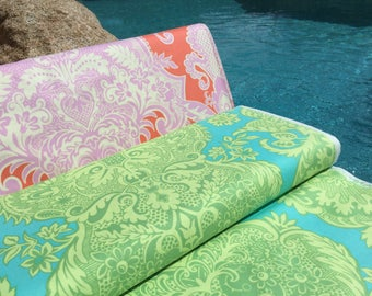 FQ ~ Half Yard ~ By the Yard ~ Sandlewood ~ 2 colors ~Tangerine and Turquoise  ~ Love Collection by Amy Butler, Cotton Quilt Fabric