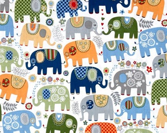 Happy Elephants Cheer Color ~ quilting cotton fabric ~  Michael Miller Fabrics