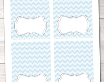 Blue Chevron and Gray Buffet Card Printable Labels Instant Download