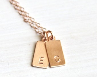 Mini Tag Initial Necklace Personalized Necklace 1, 2 or 3 Initial Necklace Monogram Personalized Jewelry Rose Silver or Gold Initial Jewelr