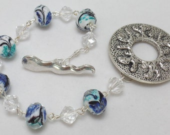 Bracelet, Plus Size, Sperm and Egg, 'The Beginning', Fertility, Toggle Clasp, Glass Beads, Wire Wrapped, Blue, Aqua, Clear, Swarovski Beads