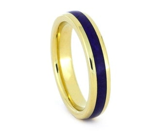 Lapis Lazuli Ring in Yellow Gold, 18k Yellow Gold Ring, Womens Wedding Ring, Thin Blue and Gold Ring