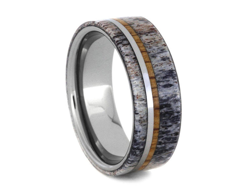 mens tungsten ring deer antler wedding band with oak wood and