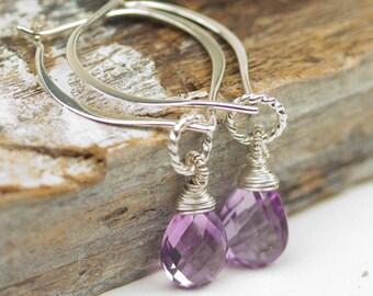 Simple Rose Amethyst Hoop Earrings, Amethyst Drop Earrings, Gemstone Dangle Earrings