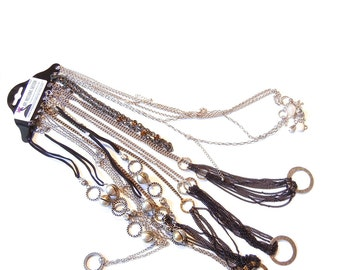 Variety of 10 Finished Mixed Tone Specialty Fashion Necklace Chains and Cords- 18 inch and 30 inch N464