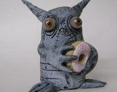 Donut monster creature polymer clay figure ooak by mealy monster land