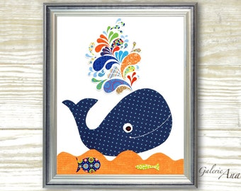 Whale Nursery art prints - Boy nursery decor - bathroom wall art nursery - kids art - Whale - navy blue - orange - ocean