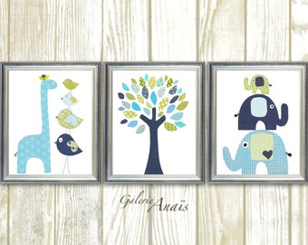 Baby Boy Nursery Decor Giraffe Home Décor nursery elephant nursery tree art blue green navy nursery art baby wall art - Set of 3 Prints