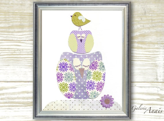 Owl nursery purple and green - Art for children - bird girl bedroom flower - wall decor personalized - Standing Together print