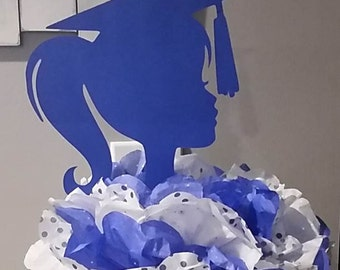 Graduation Girl Silhouette Die Cut Paper Cuttings 9 inch tall  Wall Backdrop Decor Centerpiece Pick Your School Colors
